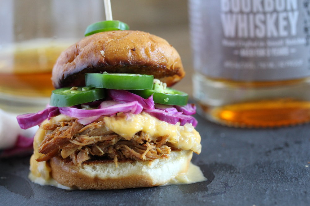 Sweet Apple Whiskey Pulled Pork Sliders with Bourbon Cheese Sauce, Jalapeno and Lime Cabbage 5