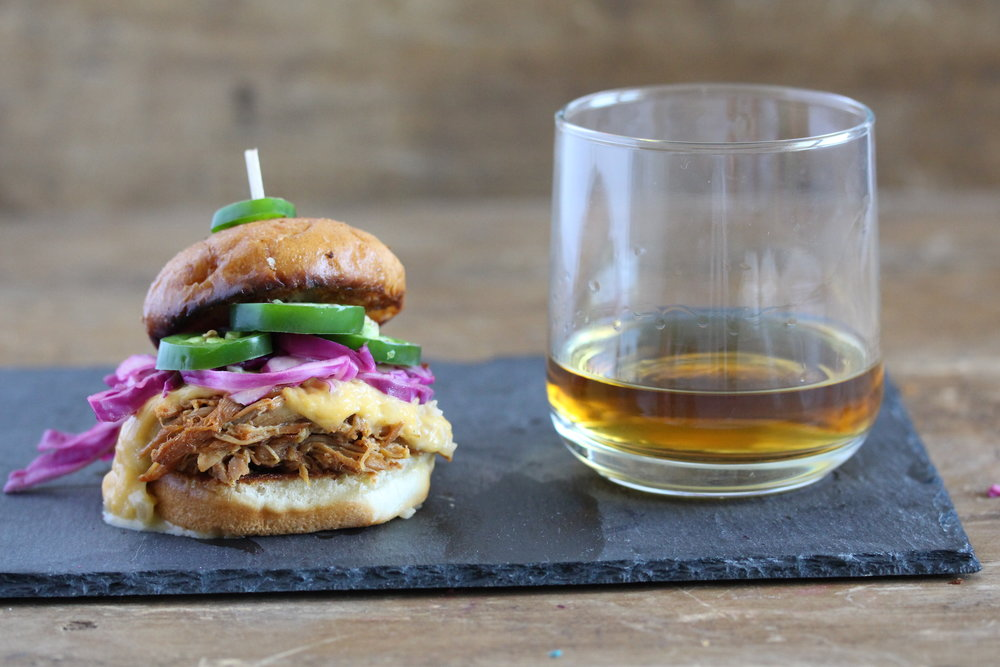 Sweet Apple Whiskey Pulled Pork Sliders with Bourbon Cheese Sauce, Jalapeno and Lime Cabbage 6