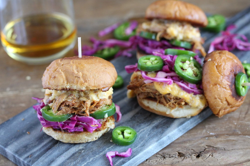 Sweet Apple Whiskey Pulled Pork Sliders with Bourbon Cheese Sauce, Jalapeno and Lime Cabbage 9