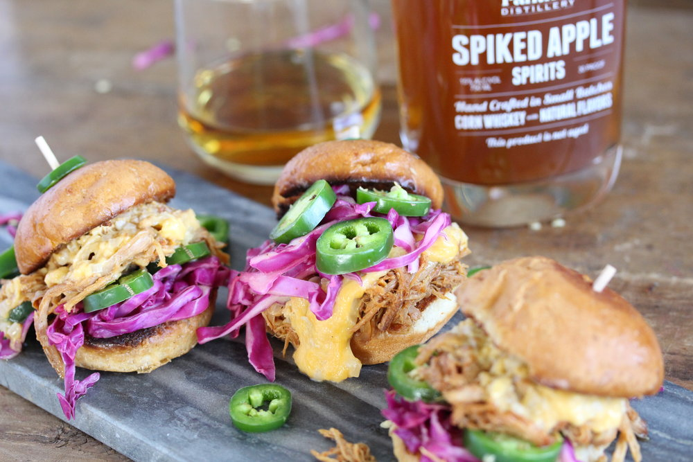 Sweet Apple Whiskey Pulled Pork Sliders with Bourbon Cheese Sauce, Jalapeno and Lime Cabbage 12
