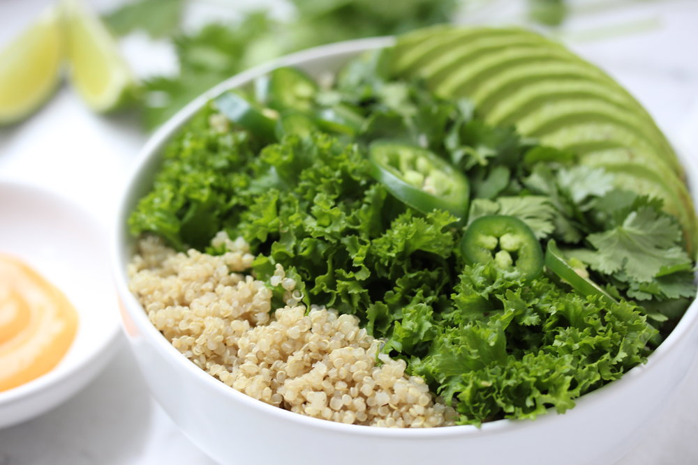 Spicy Green Grain Bowl - Zested Lemon