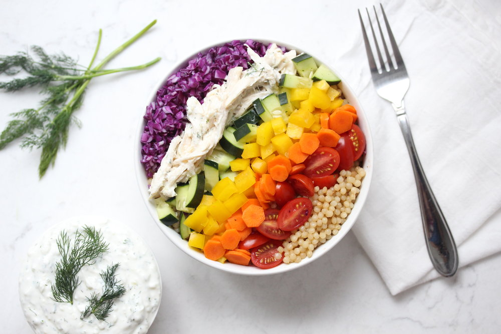 Rainbow Couscous and Tzatziki Chicken