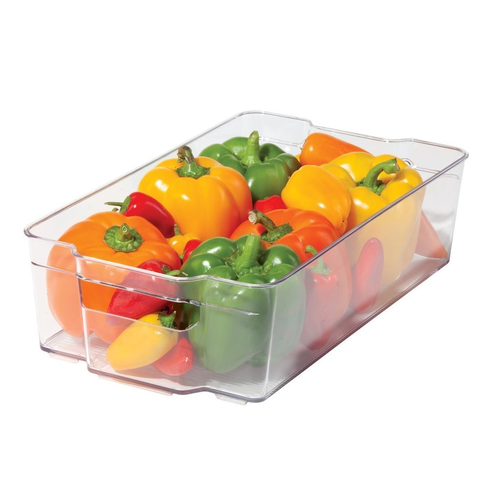 2. Stackable          Clear Bins - These bins are perfect for storing fruits and vegetables in the fridge on open shelves. It is an easy way to create separation and organization while still being able to see exactly what you have.