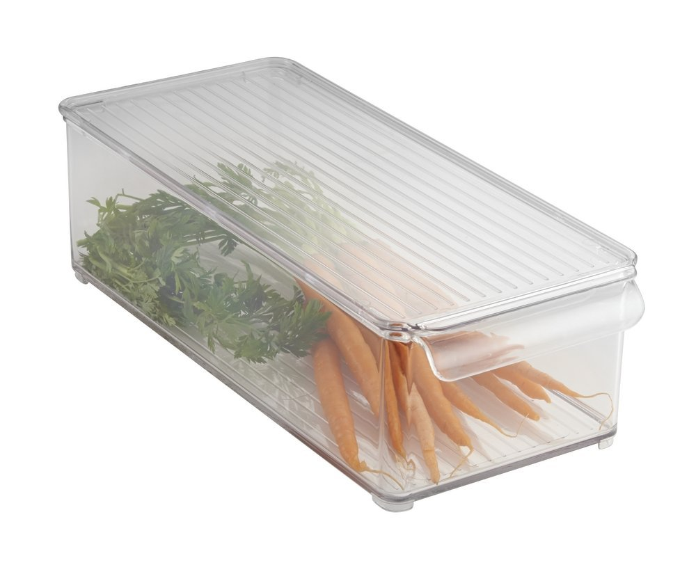 3. Stackable Clear Drawers - These are nice for when you don't have much height in the fridge to work with. By putting in a couple drawers for  long and narrow items (like carrots) you can easily access them while maximizing storage and staying organized.