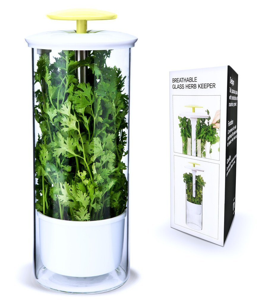 6. Herb Keeper - Fresh herbs that are in a bag and stuffed in the crisper drawer will go bad. This handy little herb keeper keeps them fresher long. The tall thin shape makes it easy to store in the door of the fridge or on a shelf where it is easily seen.