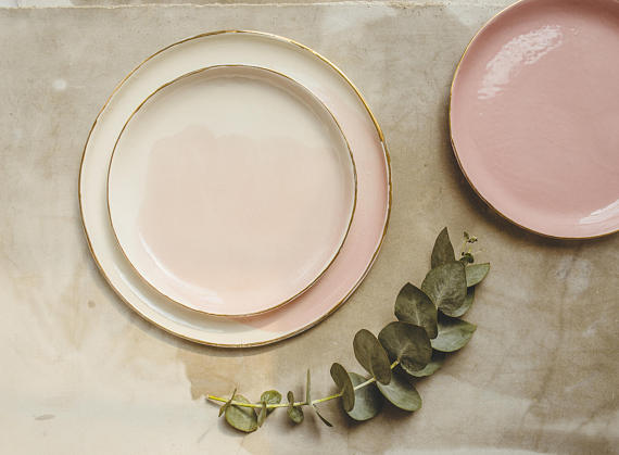 SinD Studio - Dima and Nadya from SinD Studio are the creators of these beauties!This blush dishware rimmed in gold caught my eye instantly. It is the most beautiful and tasteful way of incorporating the color pink into dishes. Enter coupon code ZESTEDLEMON20 at checkout for 20% of your purchase from SinD Studio!Photo by SinD Studio