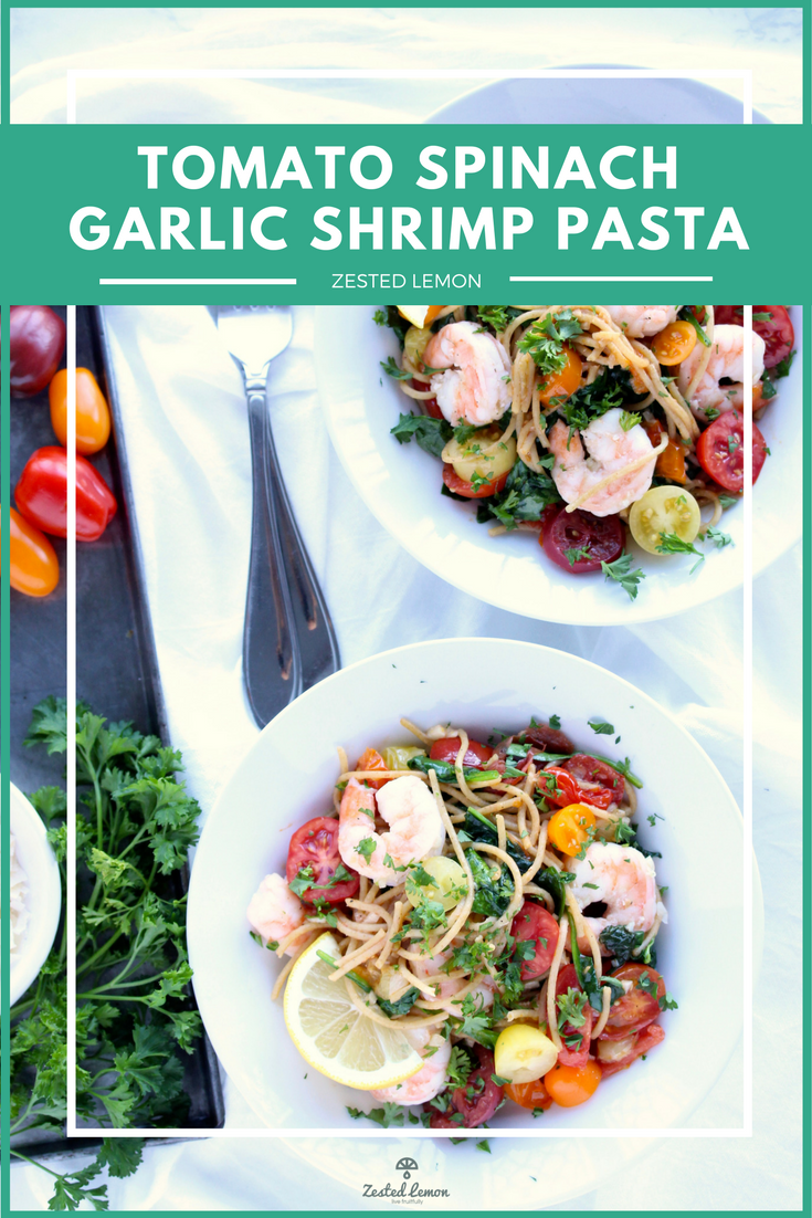 Healthy Tomato Spinach Garlic Shrimp Pasta