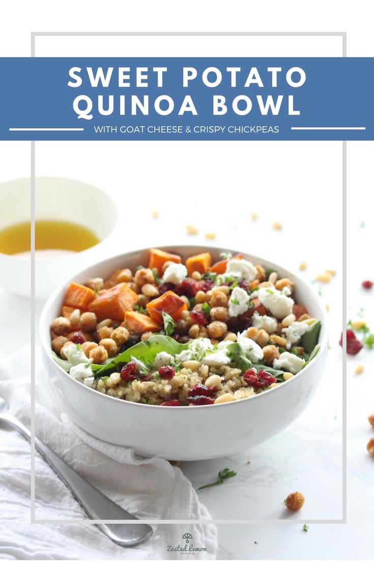 Sweet Potato Quinoa Bowl with Goat Cheese & Crispy Chickpeas