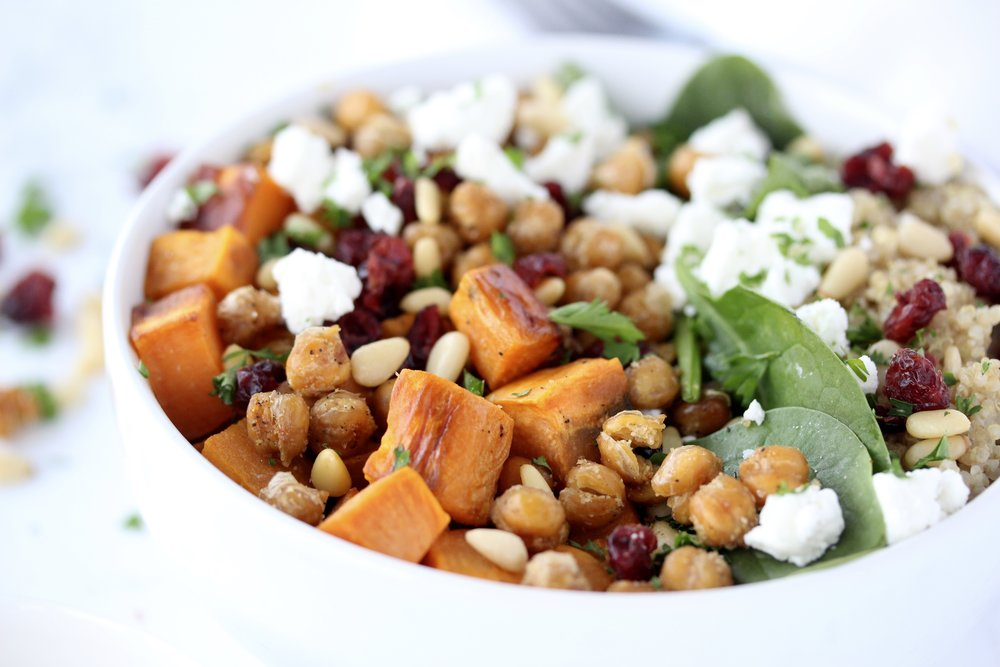 Sweet Potato Quinoa Bowl with Goat Cheese and Crispy Chickpeas