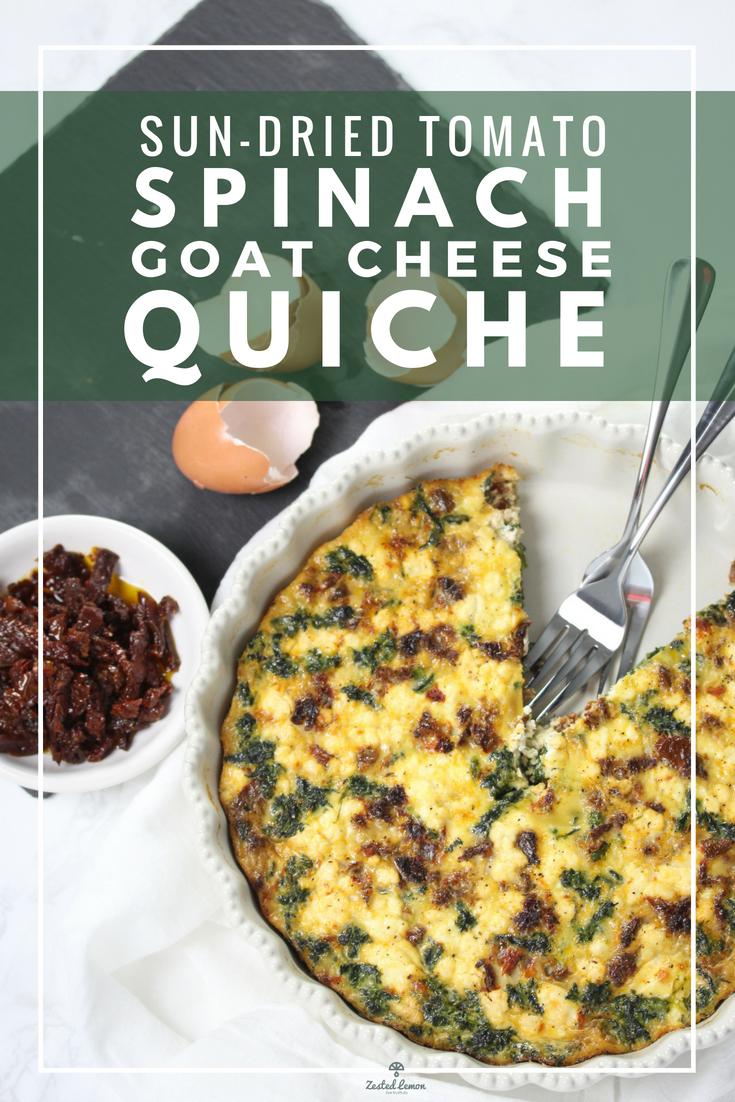 Sun-dried Tomato, Spinach & Goat Cheese Crustless Quiche