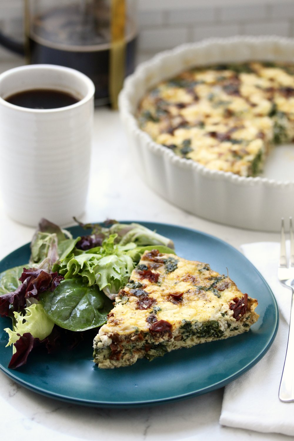 Sun-dried Tomato Spinach Quiche with Goat Cheese