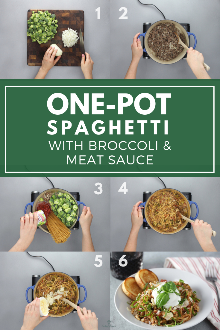 One-Pot Spaghetti with Broccoli and Meat Sauce