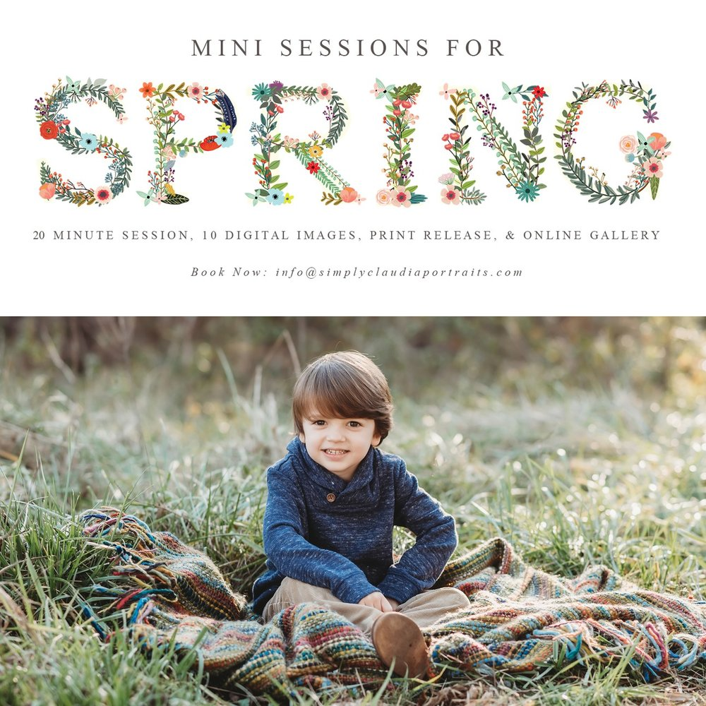 Now Booking - Spring Mini SessionsMarch 29 - 31, 2019$13520 Min Session10 Hi Resolution Digital ImagesOnline GalleryPrint ReleaseTo book click here
