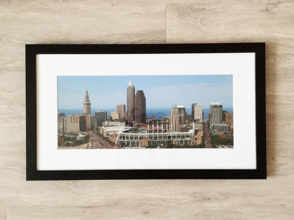 cleveland photo in dark brown wood frame