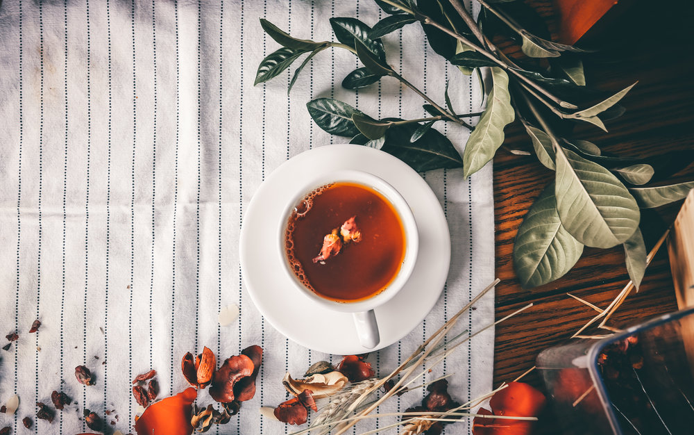 Relax with chamomile tea