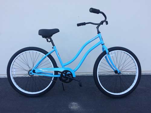 American Flyer women's Wave Beach Cruiser $239.00 Features include: • High Tensile Steel Frame • KT Coaster brake Hub • 26X1.75 Alloy Rims Powder Coated or Anodized • Rust resistant ED Coated Spokes • Cold Forged One Piece Crank • Elastomer Spring Saddle, • Aluminum Stem