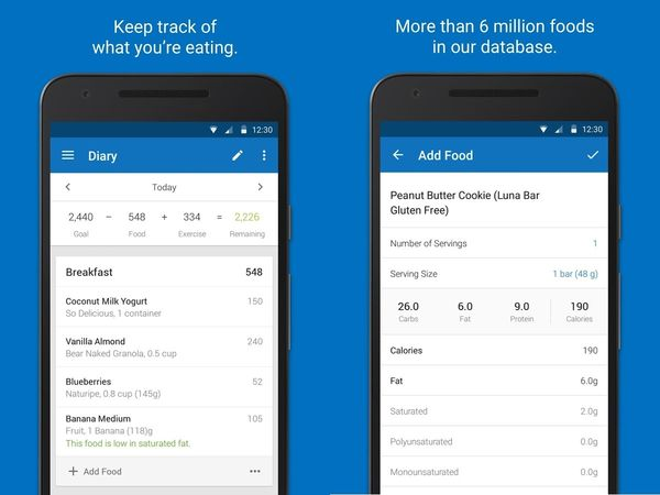 2. Calorie Counter & Diet Tracker by MyFitnessPal There's countless calorie counters out there, but MyFitnessPal is one of the best apps on the market. With MyFitnessPal, you can log your daily meals with the largest food database by far (over 5,000,000 foods!). By syncing with the Apple Watch, you can also easily track your calorie intake and step count.