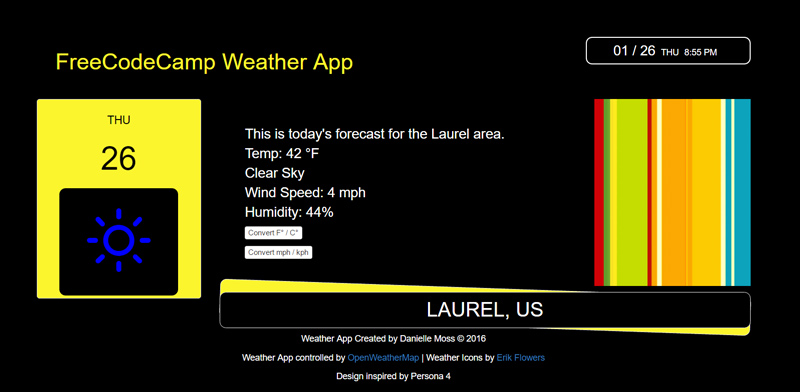 The first version of my weather app. It didn't turn out as well as I had hoped, but I was successful in getting my information to populate to the site using the OpenWeatherApp API and have my weather and air speeds convert to metric. You can view this app here: https://codepen.io/Qwicksilver/full/dNVwxv/