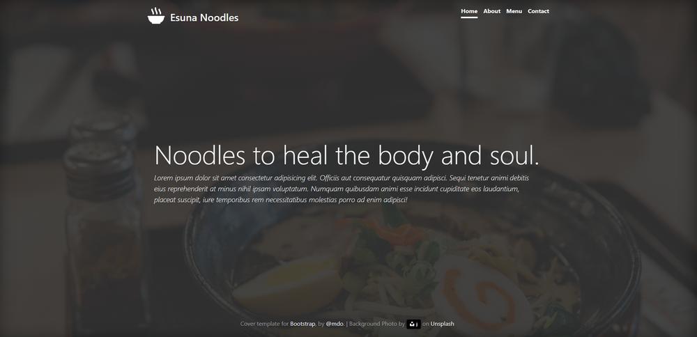 Esuna Noodles Website Design - GITHUB VIEW SITE
