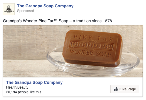 The test was a page like ad on Facebook. The visual is the bare product, no packaging or strong indication of branding. The client was in the process of modernizing branding, so we weren't testing the brand – testing personas for the flagship pine tar soap product.