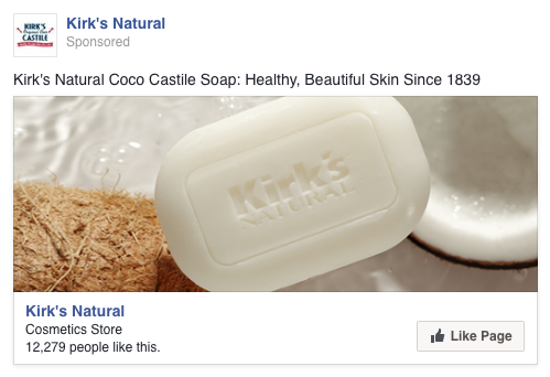 When it became clear that the strongest variable was age – with a 2% response rate at one end and nearly 7% at the other end of the spectrum – we created a control group to test whether age was always a factor for Facebook page likes, or possibly always for soaps or natural products, or if it was really due to pine tar soap. The client owns several natural soap brands and Kirk's was a perfect control. We created four general personas differing only by age, and tested them with this page like ad. Again the image is the bare product, no packaging or strong indication of branding. The control results were only slightly age dependent, indicating that age is a real factor for response to the product.