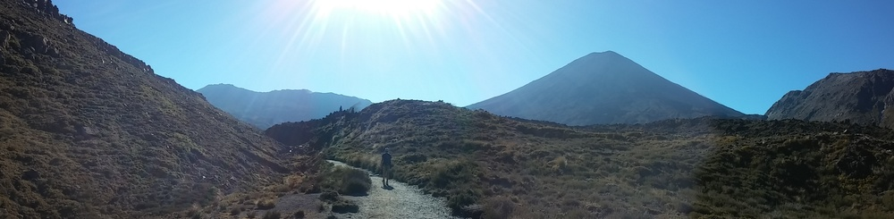 Beautiful day for a hike! Mount Doom showing it's composite-cone-self above.
