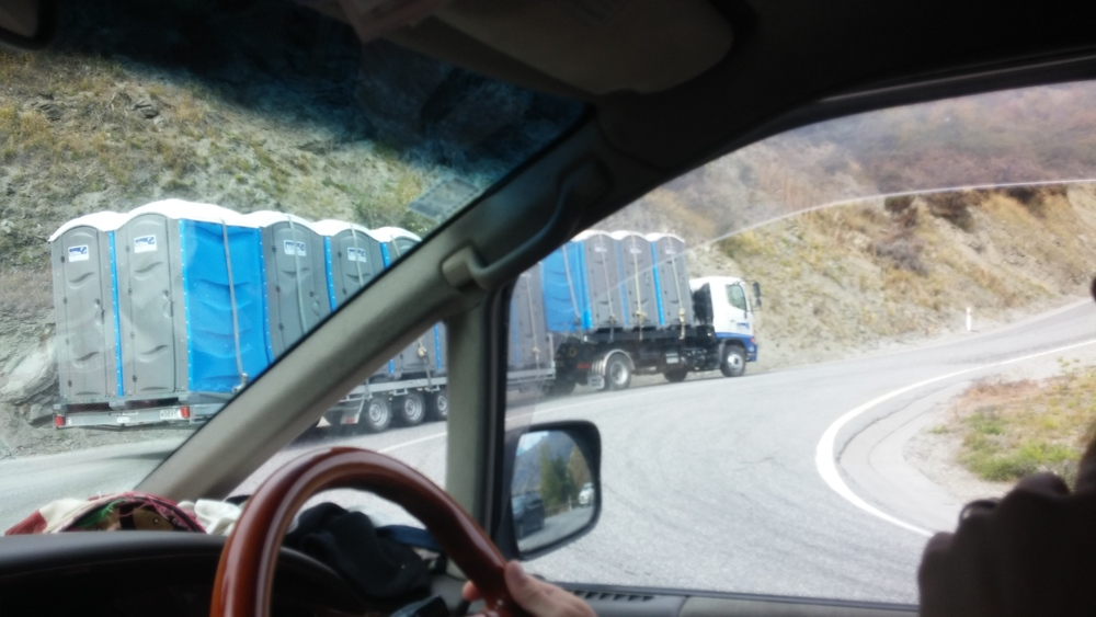 Oh no. We are following a truck load of 45 porte-johns up a mountain pass. If anything goes wrong, things could get really sh!$&y!