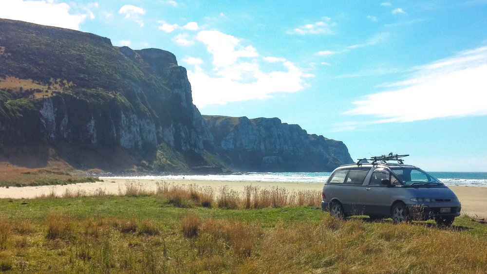 Our campervan, Bernie, in New Zealand.