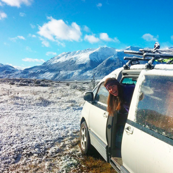 It was my head warmer campervanning New Zealand. This morning we were spontaneously surprised with fresh snow!
