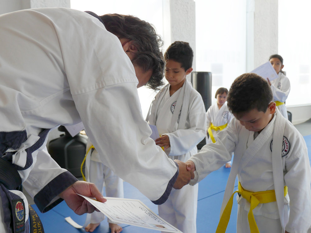 Kids yellow belt ceremony