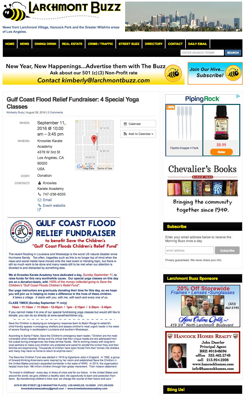 Our fundraiser event for Gulf Coast Flood Relief, in the Larchmont Buzz.  Click here for the online story.