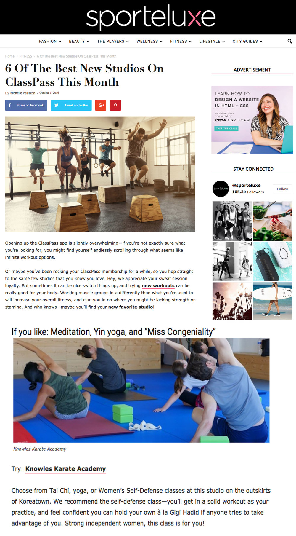 A shout-out from the blog SPORTELUXE as one of the best new 6 studios on ClassPass !  See blog post here