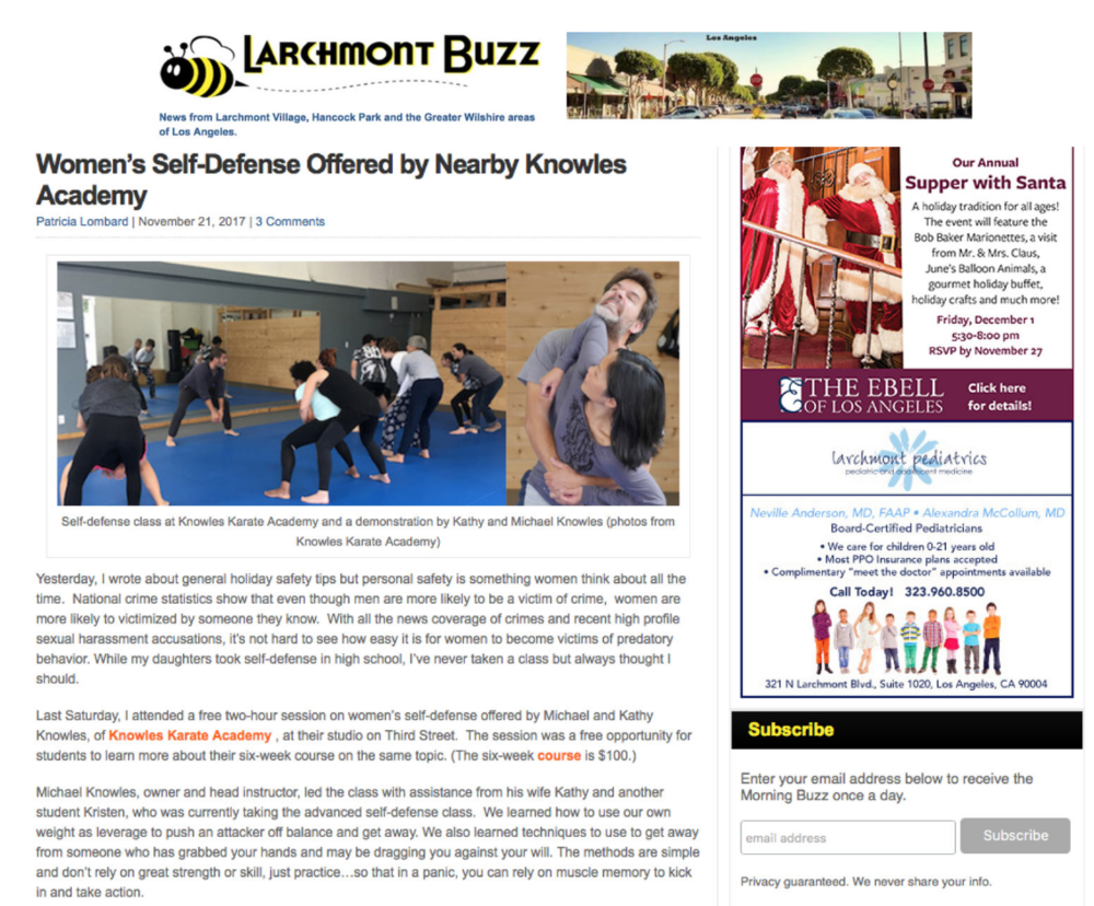 Patti from Larchmont Buzz did a little story about our Women's Self-Defense Program! Link    here