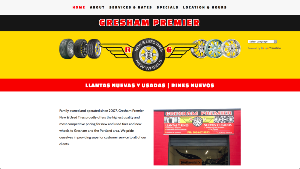 Gresham Premier New and Used Tires - one page Squarespace website design