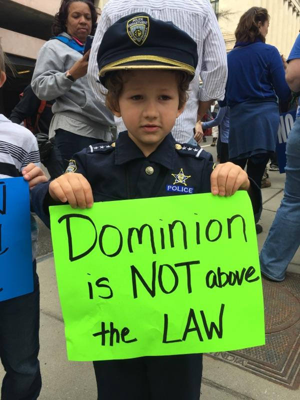 "A young protester at the ""March for Our Rivers"" in Richmond on Feb. 20, 2016."
