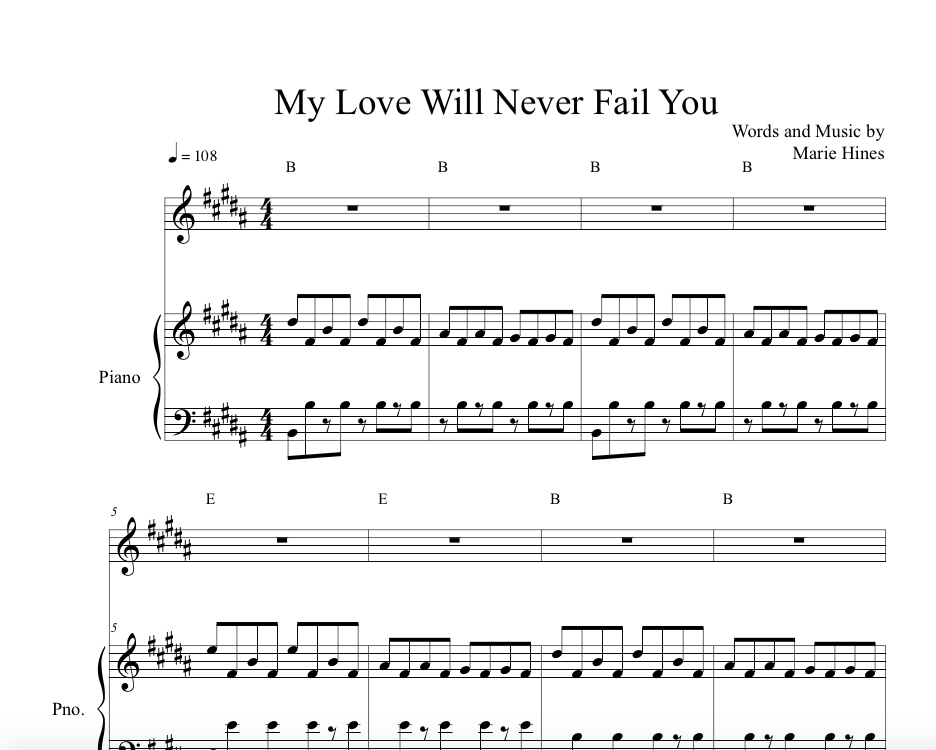 Marie Hines Sheet Music My Love Will Never Fail You Marie Hines