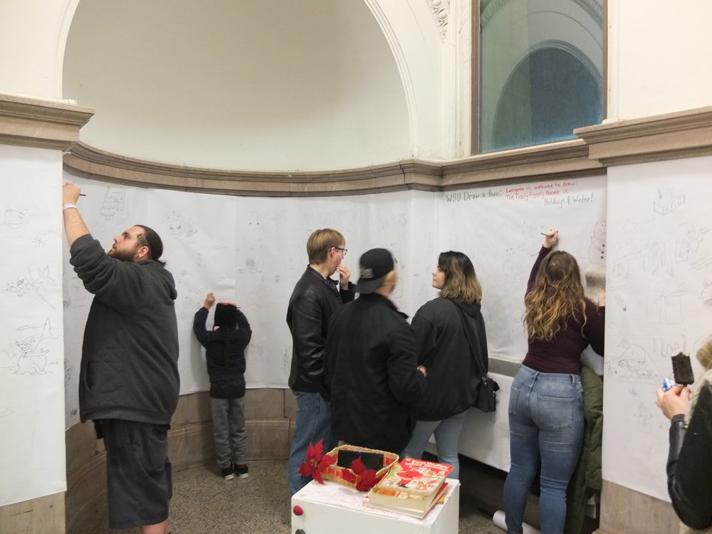 Another view of Draw-A-thon, which took place December 2, 2017 in the historic Old Main building on WSU's campus.