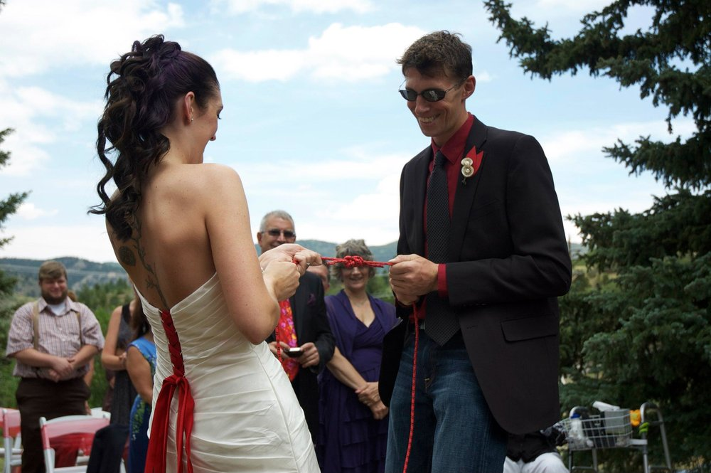 Tying the knot.