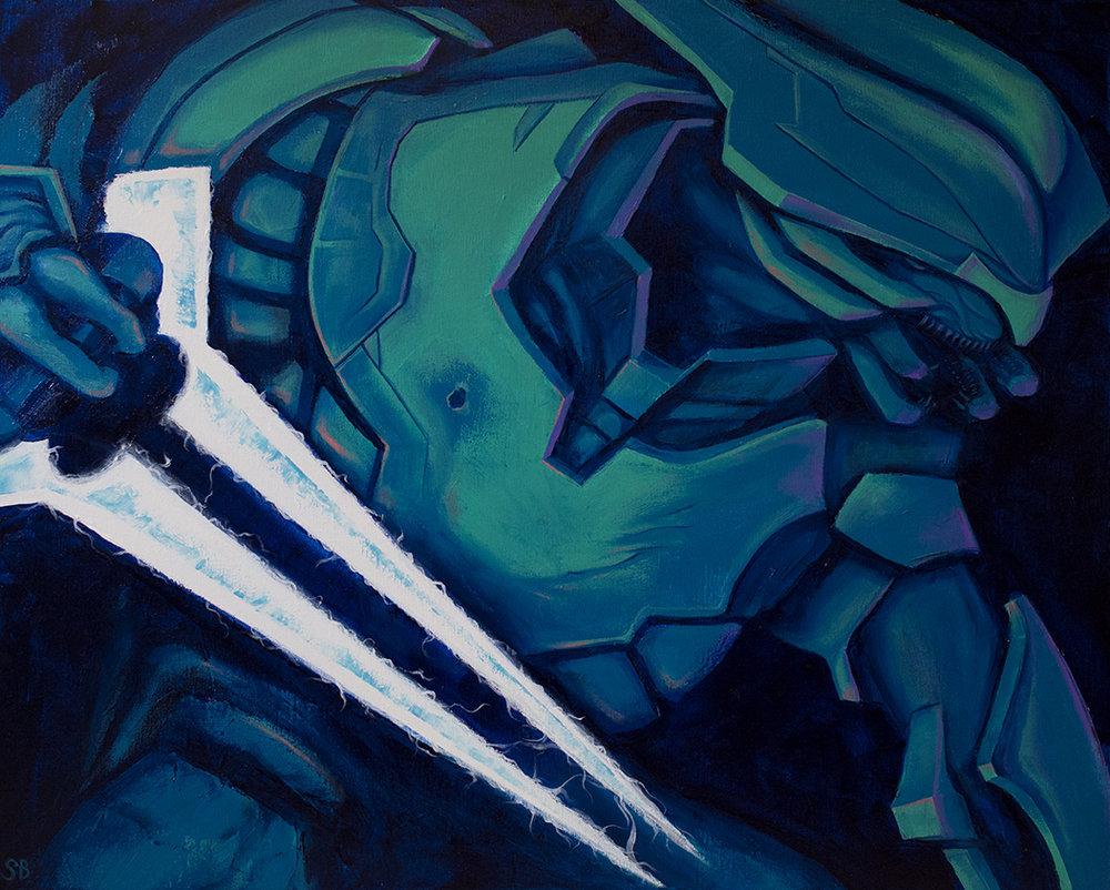 """Halo """"Elite"""" Character. Acrylic on canvas, 2015."""