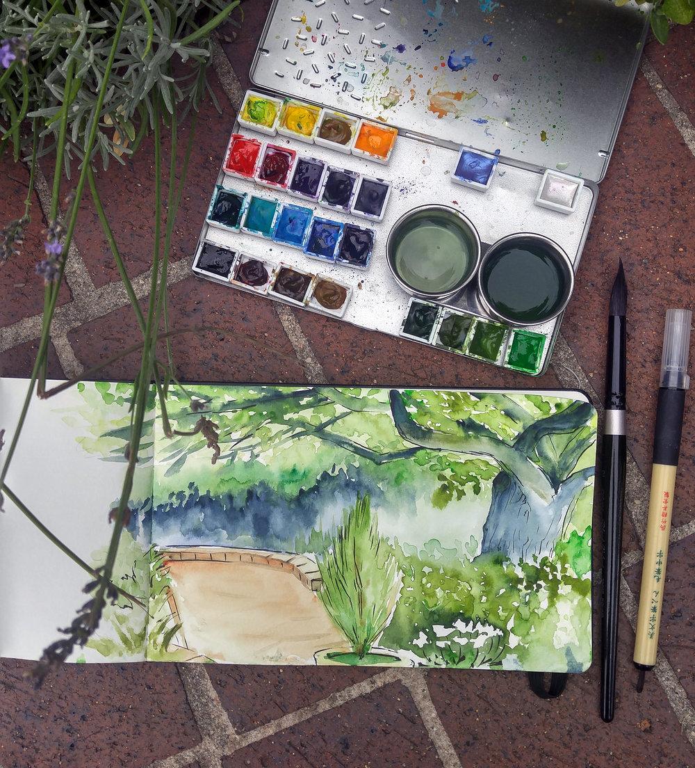 Plein Air Painting at Denver Botanic Gardens, 2016.