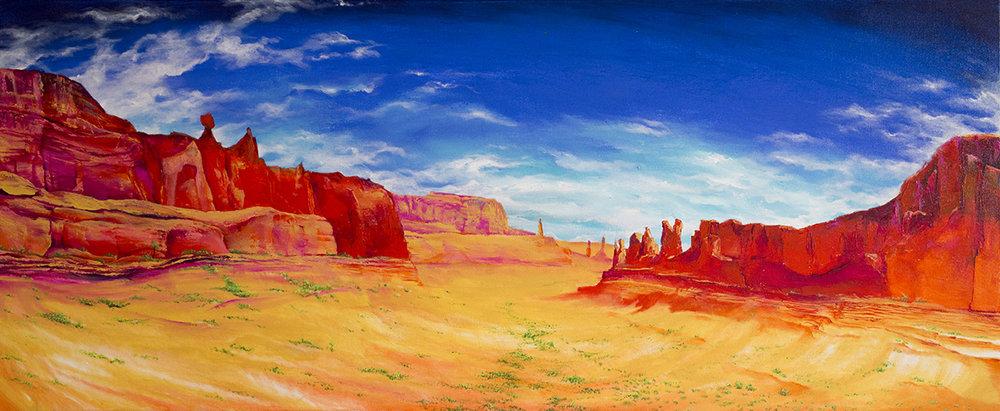Moab Landscape, Utah. 2016. Acrylic on canvas. 2ft x 4ft.