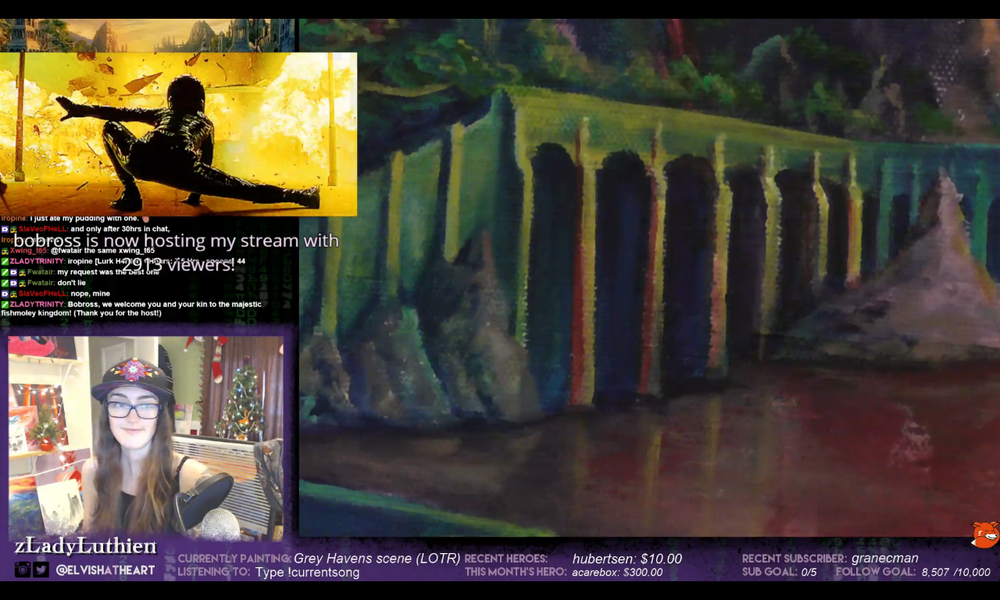 Screen capture - the first time I was raided by Bob Ross with over 2,000 viewers. Note my facial expression...