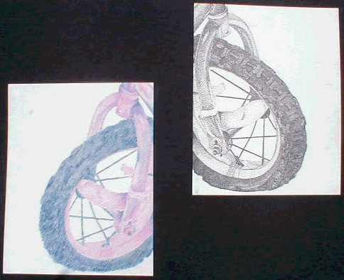 Bicycles,2003. Left: Colored Pencil (straight lines only). Right: Pen (stippling only).