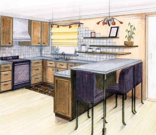 Kitchen Design, Prisma Colored Pencil 2008.