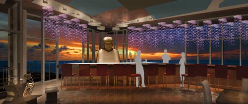 "Buddha Bar,Sushi Restaurant Concept called ""Koi"", 3D Rendering, 2009"