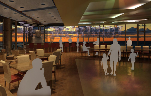 """Optional Reception Dining for Events,Sushi Restaurant Concept called """"Koi"""", 3D Rendering, 2009"""