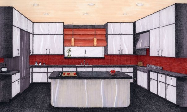 Another conceptual kitchen design, Prisma Markers and Colored Pencils, 2008.