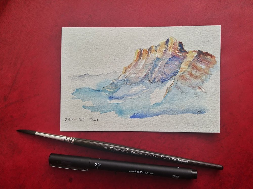 Dolomites, Italy (practicing minimal brush strokes)