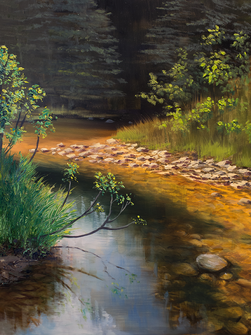Summer River. 2018, Oil on board. Sarah Burns.