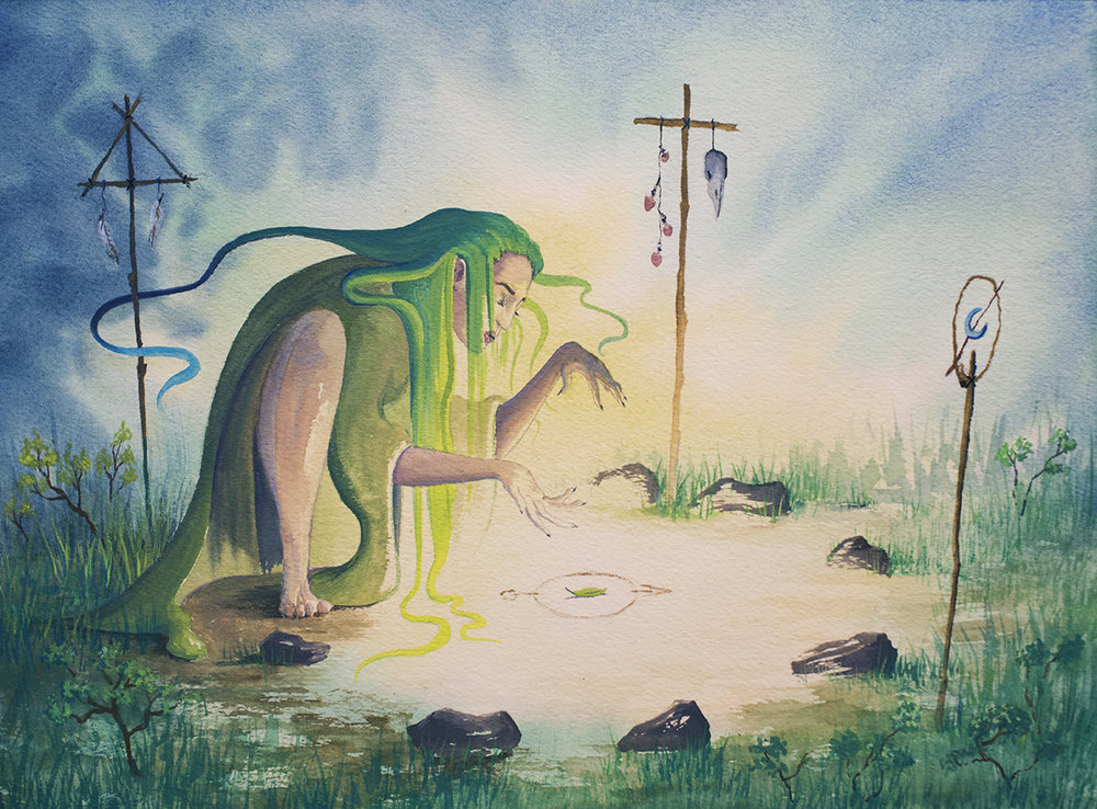 The Forest Witch. Watercolor & Gouache.Sarah Burns 2018.